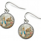 PETER RABBIT Beatrix Potter - Glass Picture Earrings - Silver Plated