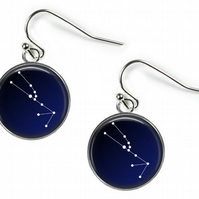 TAURUS Constellation Zodiac - Glass Picture Earrings - Silver Plated