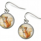 SQUIRREL NUTKIN Beatrix Potter - Glass Picture Earrings - Silver Plated