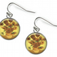 SUNFLOWERS Vincent Van Gogh - Glass Picture Earrings - Silver Plated