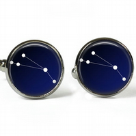 ARIES Constellation Zodiac - Glass Picture Cufflinks - Silver Plated