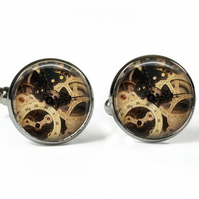 STEAMPUNK CLOCK - Glass Picture Cufflinks - Silver Plated