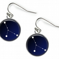 CANCER Constellation Zodiac - Glass Picture Earrings - Silver Plated