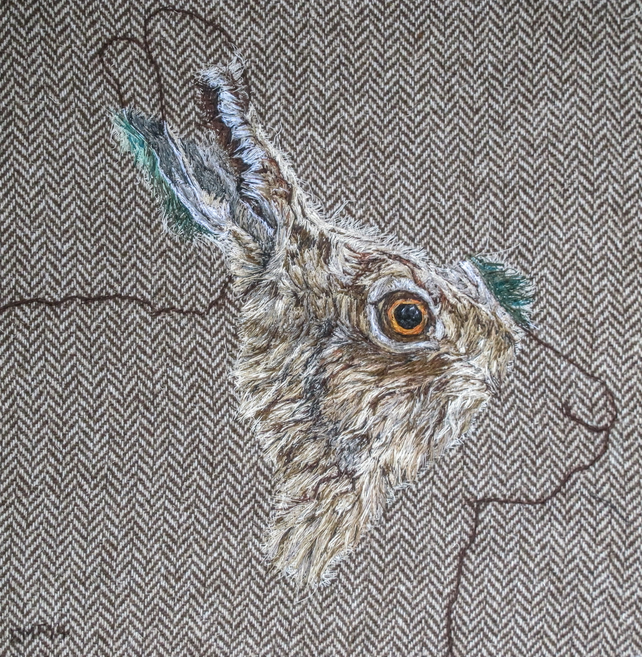 Hare original textile artwork