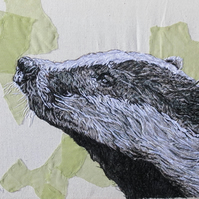 Badger new original textile artwork