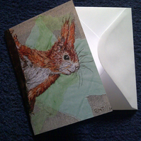 Red Squirrel design blank greeting card