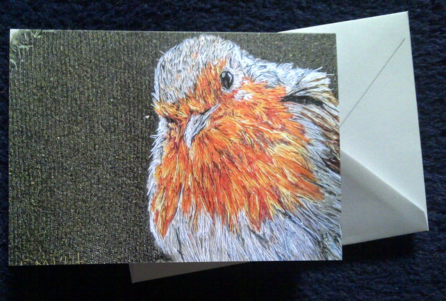 Robin artwork blank greeting card