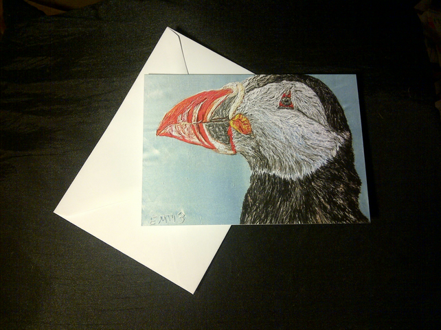 Puffin design blank greeting card