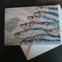Sardines blank greeting card