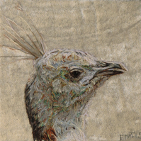 Peahen textile original artwork
