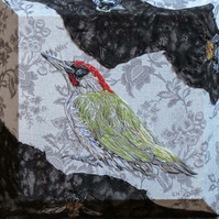 Green Woodpecker and Bees textile original artwork