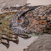 Eagle Owl textile art