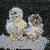 Pair of Ducklings textile art