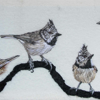Crested Tits Textile Artwork
