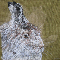 Original Mountain Hare Textile Art