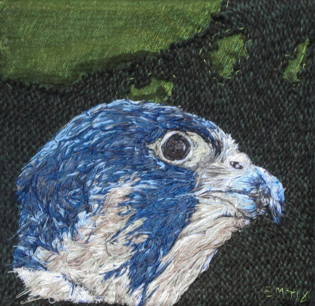 Original Peregrine Falcon Textile Artwork