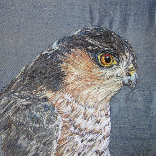 Bird of Prey - Sparrowhawk textile art