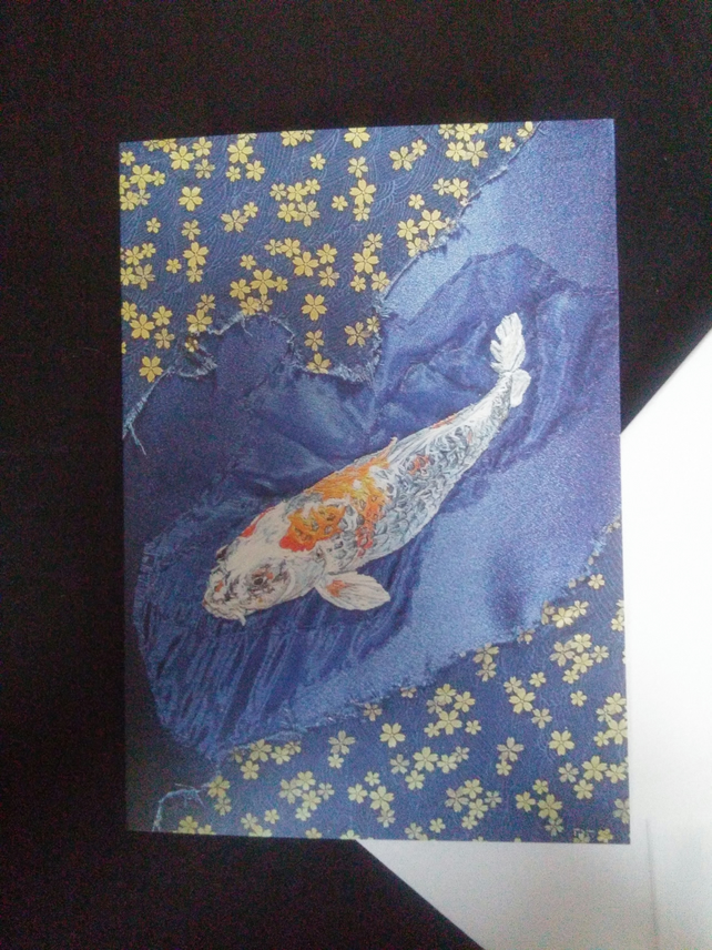 Koi Carp Art blank greeting card