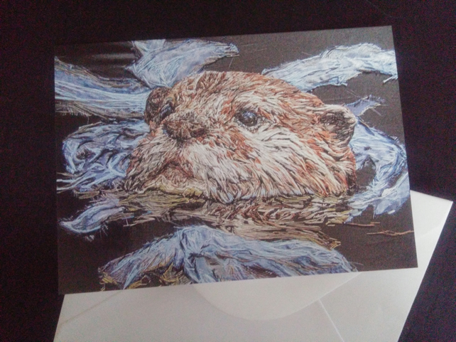 Otter Art blank greeting card