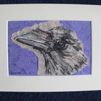Crow mixed media artwork