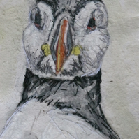 Puffin mixed media artwork