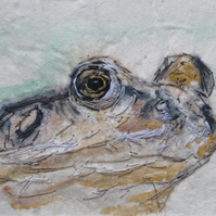 Frog mixed media artwork