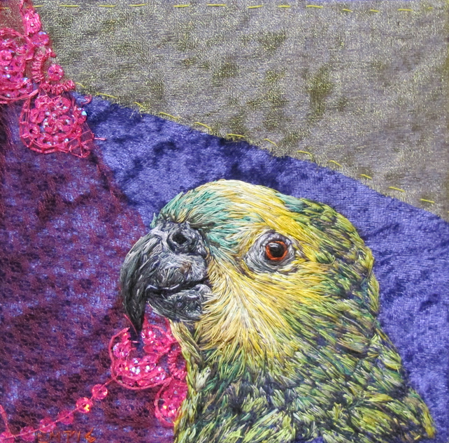 Green Parrot textile artwork