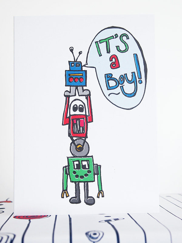 New Baby Boy Robots Card