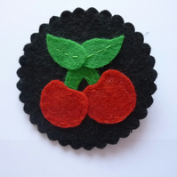 Cherries Felt Cameo Brooch