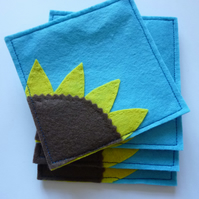 Sunflower Felt Coaster Set