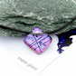 Pink purple diamond shaped glass pendant on adjustable waxed cord, fused glass,