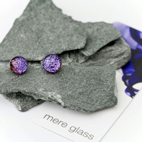 Handmade purple glass small earrings on sterling silver earring backs