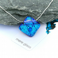 Blue diamond shaped fused glass pendant, sterling silver necklace