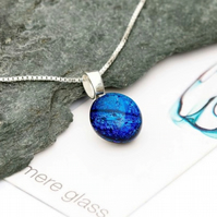Deep blue glass pendant with sterling silver necklace