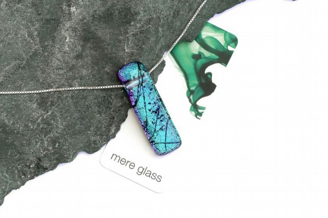 Fused glass pendant on a sterling silver necklace