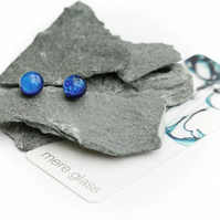 Blue fused glass small earrings with sterling silver backs