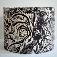 Squirrel & Sunflower Drum Lampshade