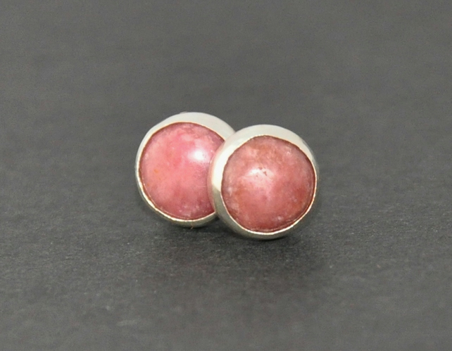 Pink Rhodonite Earrings with Sterling Silver Earring Studs, 6mm Rhodite Gemstone
