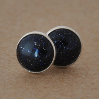 Goldstone earrings with Sterling Silver studs in Sparkly Midnight blue 8mm