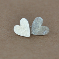 Love Heart stud Earrings, sterling silver valentine's day gift for her.