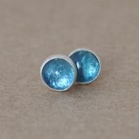 Handmade Blue topaz earrings, 4 mm