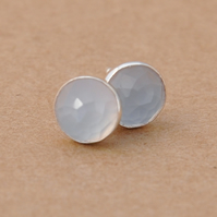 Handmade Ice blue chalcedony earrings, 6 mm