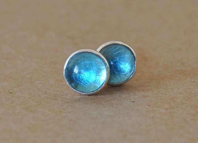 Handmade Blue topaz sterling silver earrings 6 mm