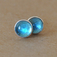 Topaz studs, Swiss blue sterling silver earrings 6 mm genuine gemstones