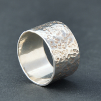 Handmade wide Sterling silver ring