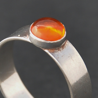 Handmade Amber and sterling silver ring