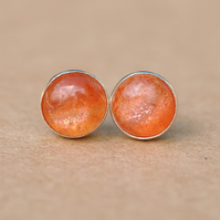 Handmade Sunstone and sterling silver earrings, 6 mm