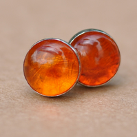 Amber Earrings, Sterling Silver Earring Studs, 8 mm natural authentic Gemstones