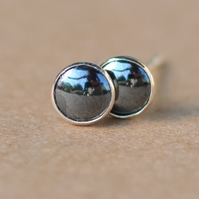 Handmade Hematite and sterling silver earrings