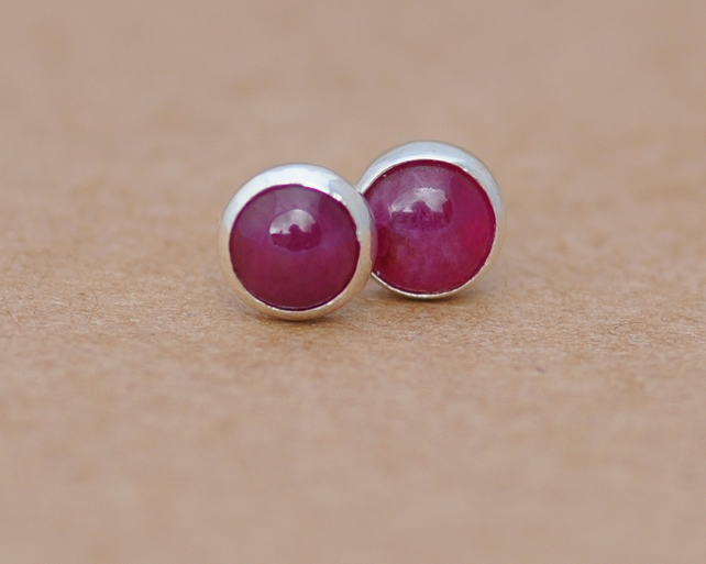 Handmade Ruby and sterling silver earrings